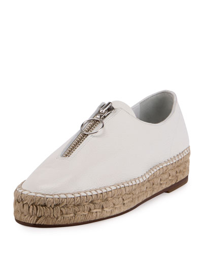 Devon Zip-Front Espadrille Flat, Optic White