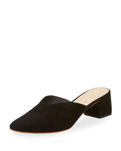 Lulu Suede Block-Heel Mule Slide, Black