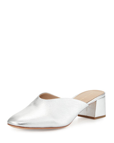 Lulu Leather Block-Heel Mule Slide, Silver