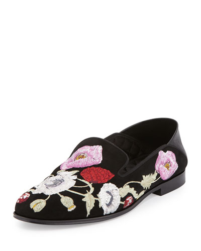 Flower-Embroidered Suede Loafer, Black/Multi
