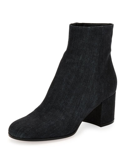 Margaux Denim Block-Heel Ankle Boot, Black