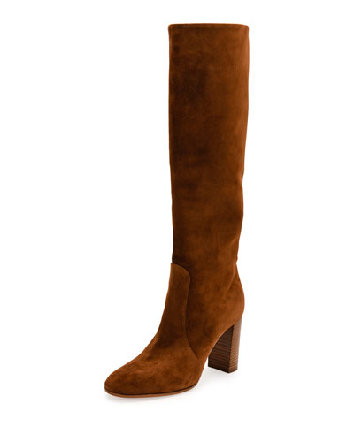 Suede Stack-Heel Knee Boot, Texas