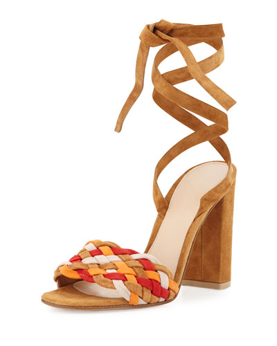 Woven Suede Ankle-Wrap Sandal, Almond Spritz