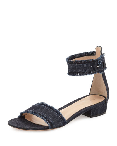 Lola Flat Frayed Denim Sandal, Denim