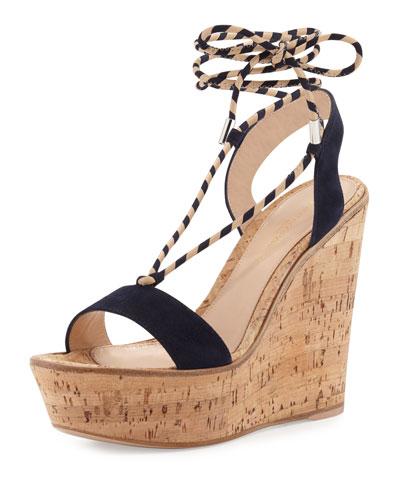 Hyeres Nautical Striped Lace-Up Sandal