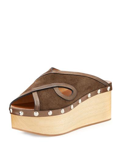 Zipla Suede Clog Wedge Sandal