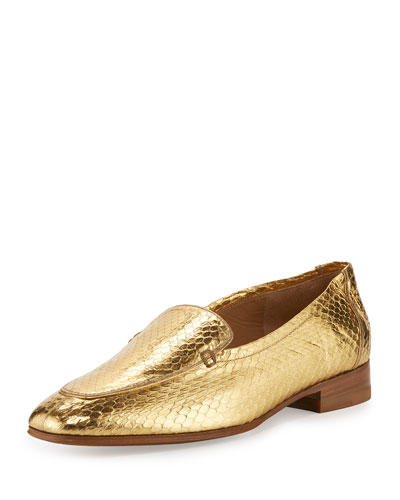 Adam Metallic Snakeskin Loafer, Gold