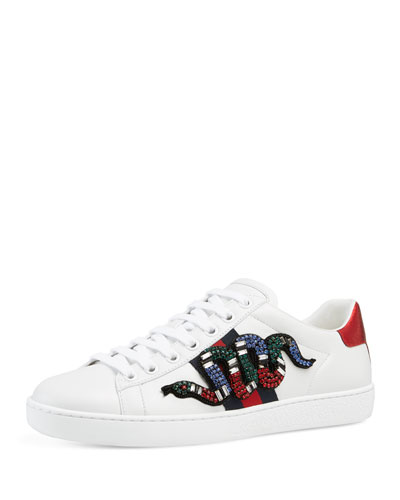 Ace Snake Low-Top Sneaker, White