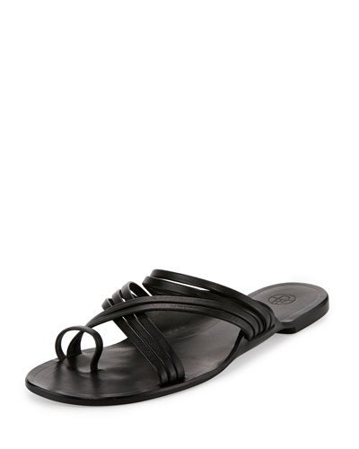 Cannes Strappy Flat Sandal, Black