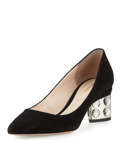 Prism Suede Faceted Block-Heel Pump, Black