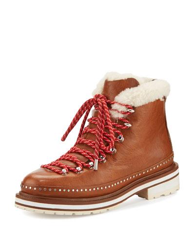 Compass Shearling Fur-Lined Hiking Boot, Tan