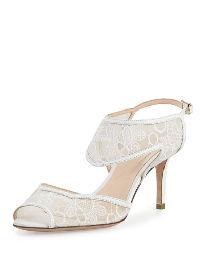 Leda Lace 105mm Sandal, White