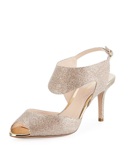 Leda Metallic 70mm Sandal, Champagne