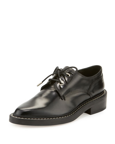 Kenton Leather Lace-Up Oxford, Black