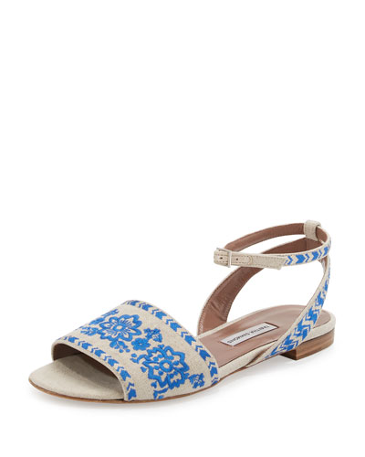 Petal Festival Embroidered Flat Sandal, Natural