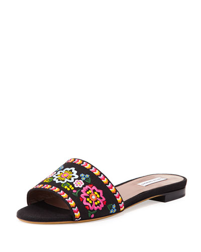 Sprinkles Embroidered Slide Sandal, Black