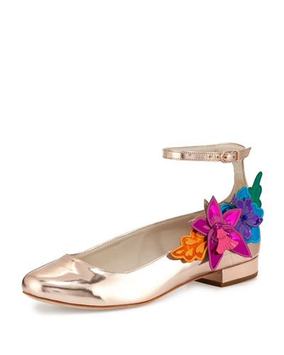 Hula Floral-Applique Ankle-Strap Flat, Rose Gold