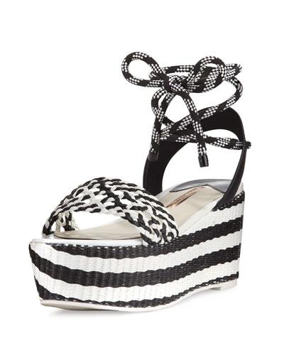 Nia Woven Platform Ankle-Wrap Sandal, Black/White