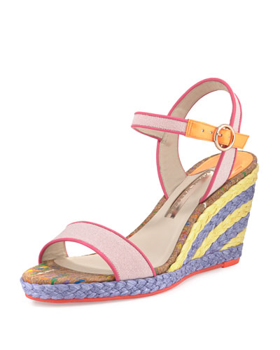 Lucita Striped Wedge Sandal, Pastel Pink
