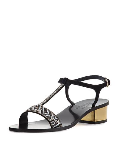 Mosaic T-Strap Sandal, Black/White/Gold