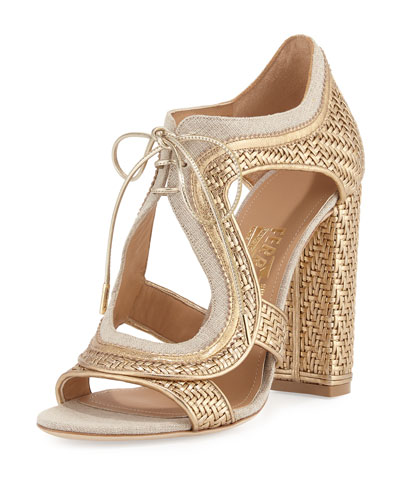 Edith Twist Woven Lace-Up Sandal, Mekong/Natural