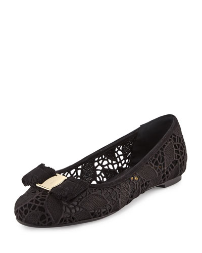 Lace Bow Ballerina Flat, Black (Nero)