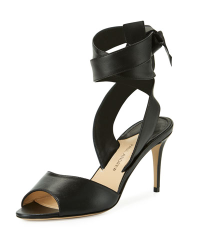 Lulea Leather Ankle-Wrap Sandal, Black