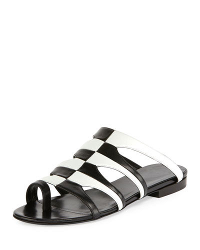 Parade Bicolor Toe-Ring Mule Sandal, Black/White