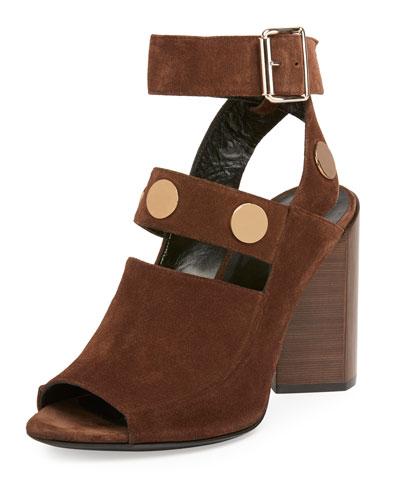 Penny Suede Block-Heel Sandal, Brown