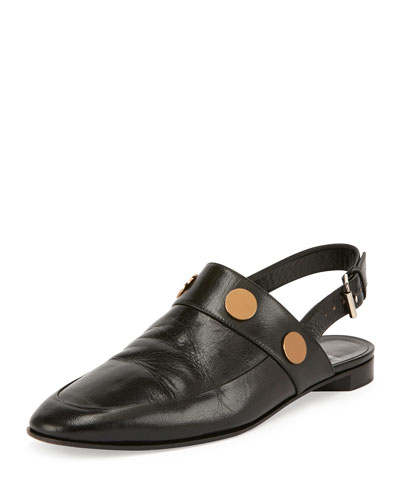 Penny Leather Slingback Flat, Black