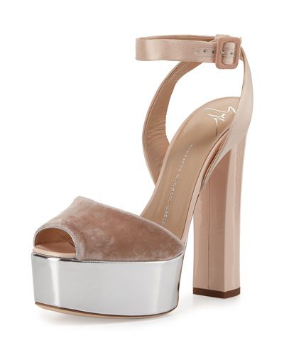 Velvet & Leather Platform Ankle-Wrap Sandal, Cipria