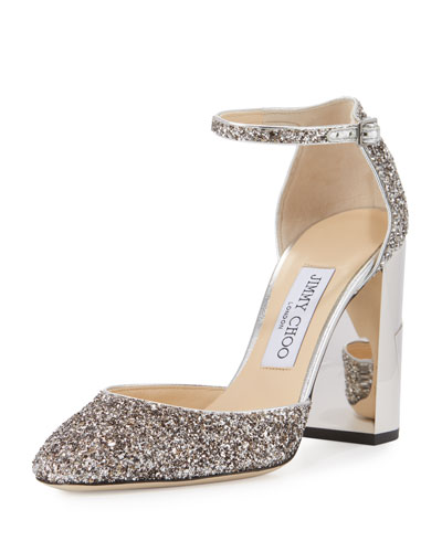 Mabel Glitter Block-Heel Pump, Sand/Neutral