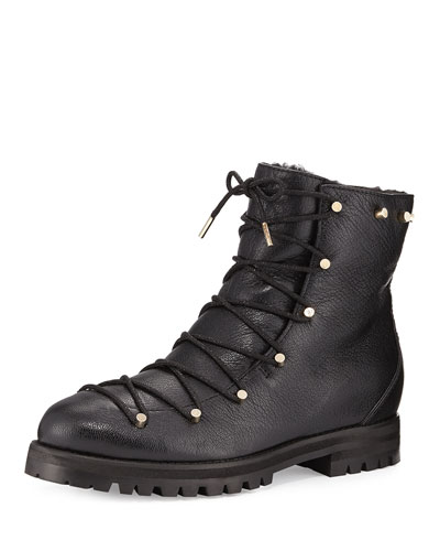 Drake Shearling-Lined Leather Boot, Black