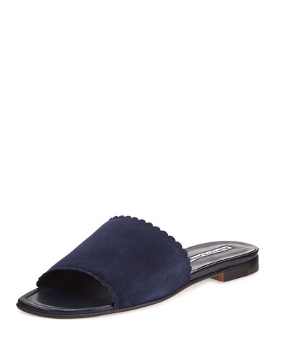Arcara Scalloped-Edge Suede Flat Slide Sandal, Navy