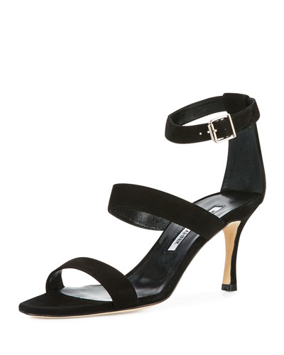 Kaotic Suede Strappy 70mm Sandal, Black