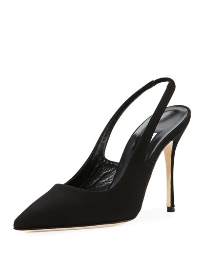 Allura Crepe 105mm Slingback Pump, Black