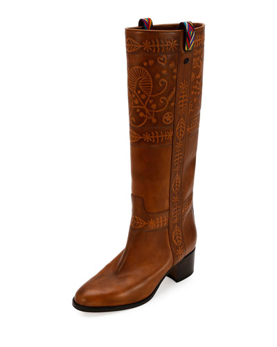 Santeria Embossed Leather Boot, Bright Cuir