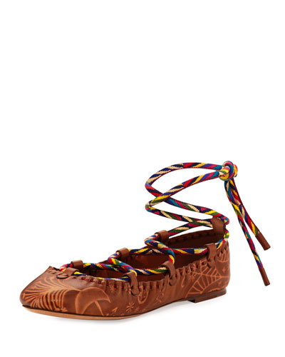 Santeria Lace-Up Ballerina Flat, Bright Cuir