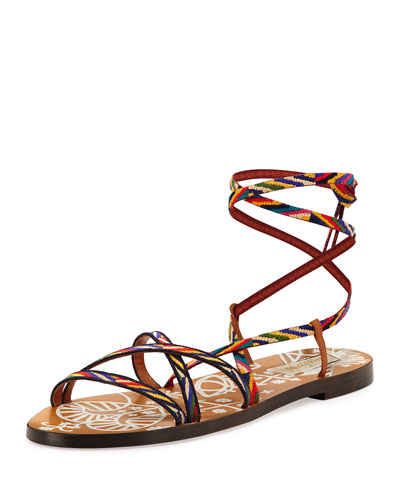 Santeria Lace-Up Flat Sandal, Multi
