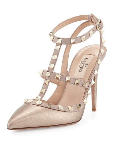 Rockstud Metallic Leather T-Strap Pump, Skin/Poudre