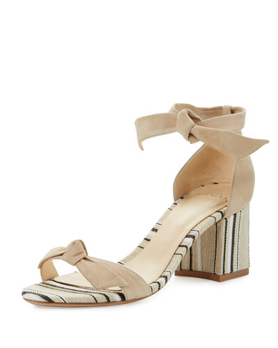 Clarita Suede & Striped Block-Heel Sandal, Balm/Natural