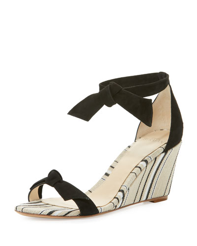 Clarita Striped Wedge Sandal, Black/Balm/Natural