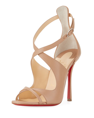 Malefissima Leather Red Sole Sandal, Neutral