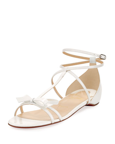 Blakissima Patent Bow Flat Red Sole Sandal, Latte