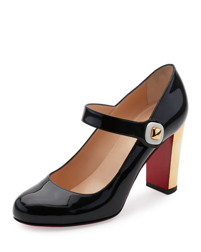 Bibaba Patent Red Sole Pump, Black