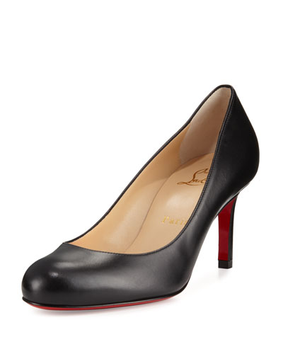 Simple Leather 70mm Red Sole Pump, Black