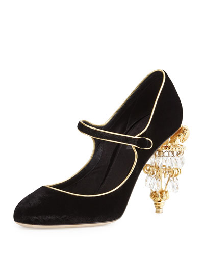 Mary Jane Pump w/Chandelier Heel, Black