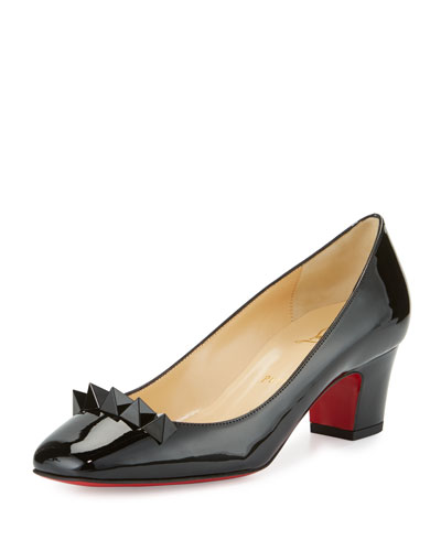 Pyramidame Block-Heel Red Sole Pump, Black
