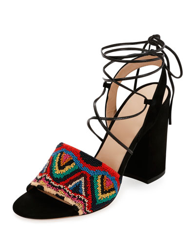 Native Beaded Lace-Up Sandal, Multicolor/Nero