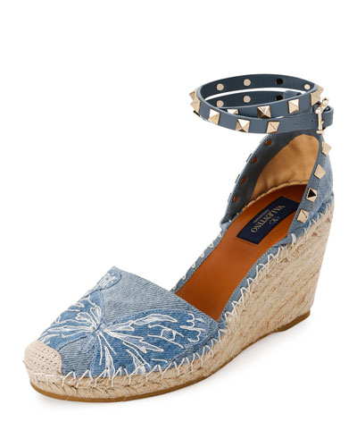 Rockstud Double Butterfly Espadrille Wedge Pump, Denim